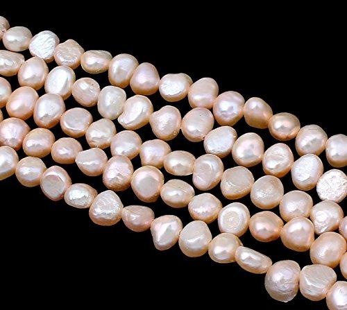 SÜSSWASSERPERLEN ZUCHTPERLEN REISKORN 6mm Apricot 32stk Natur Barock Perlen Edelsteine Strang Schmuckperlen Schmuckstein für DIY Kette Basteln D495
