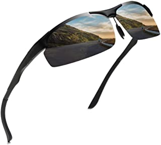 HD Polarized Sports Sunglasses for Men UV Protection Metal Frame Unbreakable for Cycling Running Fishing Golf Driving