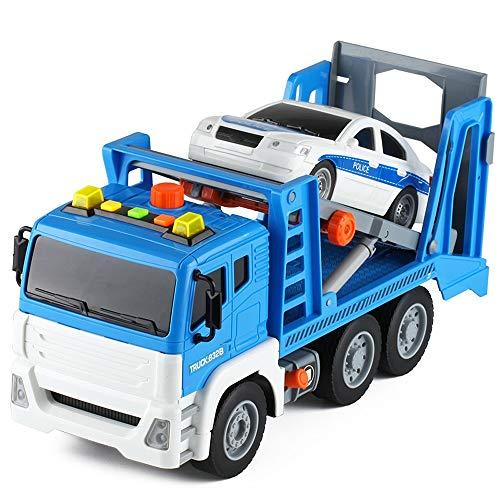 Xolye Große Straße Rettung Abschleppwagen LKW-Legierung Anhänger Kind Boy Toy Car Simulation Sound- und Lichttechnik Fahrzeugmodell Metall Anti-Fallen Transport-LKW (Color : Blau)
