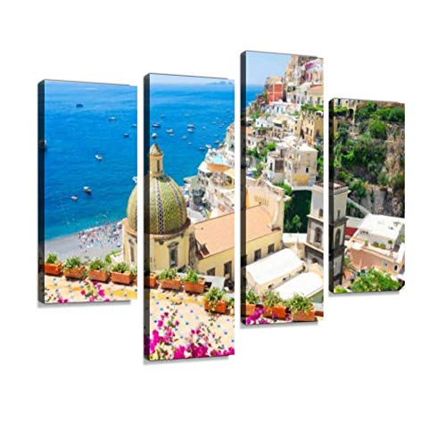 Positano Resort, Italy positanos and Pictures Canvas Wall Art Hanging Paintings Modern Artwork Abstract Picture Prints Home Decoration Gift Unique Designed Framed 4 Panel
