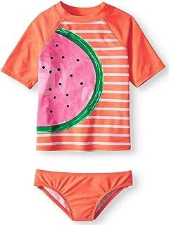 Girls Watermelon Flash Peach Rash Guard & Bikini Bottom 2-Piece Swim Set