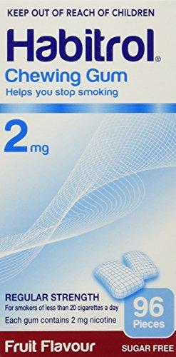 Habitrol Nicotine Quit Smoking Gum, 2mg, Fruit flavor coated gum. 96 pieces per box