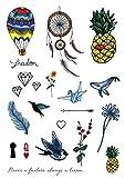Tatuajes temporales TATSY FUNKY SET diseño original y único, sexy, de fiesta, moda, para adultos, mujer, chica, amigas, brazo, pierna, cuello, flores