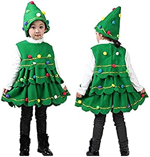 Baby Girls Outfit Christmas Tree Costume Cosplay Dress Tops Party Vest Dress with Hat Outfits (6-7 Years)