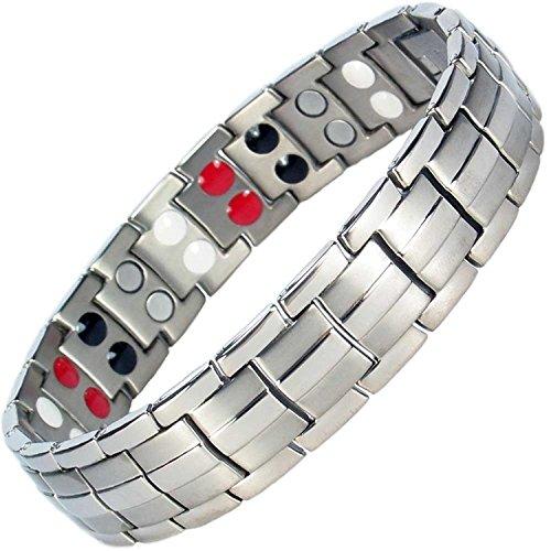 Magnetisches Armband für Herren, Titan, Größen: S, L, XL; negative Ionen, Germanium, Heilendes Armband, gegen Arthritis, Detox & Energie + zusätzliche Glieder – ST4 23 cm / 9 in silber