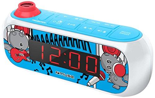 Muse M-167 KDB Kinder-Wecker mit digitalem UKW Radio und Sternen-Projektion (2 Weckzeiten, Display mit Dimmer, AUX-In) blau / weiß mit lustigen Comic-Motiven