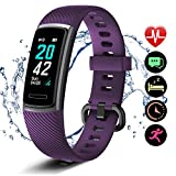 Letsfit fitness tracker ID152, Activity Heart Rate, Pedometer Watch with Sleep Monitor, Step Calorie Counter, Smart Bracelet for Kids Women and Men, Purple, Standard