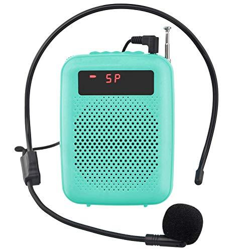 JCWY Amplificador de Voz, Sistema de PA Recargable de 12 Vatios (1500 mAh) con Micrófono con Cable para Profesores, Guía Turístico y más (Azul)
