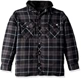 Dickies Men's Relaxed fit Hooded Quilted Shirt Jacket, Dark Navy Charcoal Plaid, L