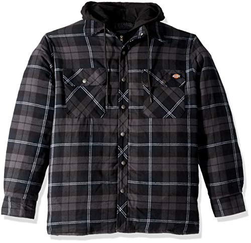 Dickies Men's Relaxed fit Hooded Quilted Shirt Jacket, Dark Navy Charcoal Plaid, 2X