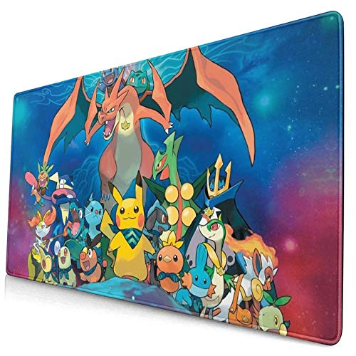 Pikachu Anime Gaming Mouse Pad,P-okémon Design Mouse Mat,Non-Slip Rubber Base Mousepad,Waterproof Office Mouse Pad(15.8x29.5 in)