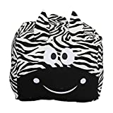 Zebra Stuffed Animal Bean Bag Chair Cover, Large Size 24x24 Inch Cotton Canvas Embroidery, Stuffed Organization for Kids Boys Girls Toy Blankets Towels Clothes Storage, White and Black