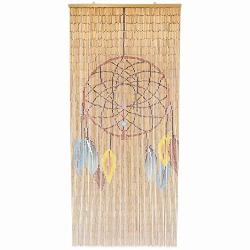 TACHILC Dream Catcher Bamboo Bead Curtain, Doorway Hanging Beads, Bamboo Door Beads 35.5 inches x 78 inches, 90 Strands