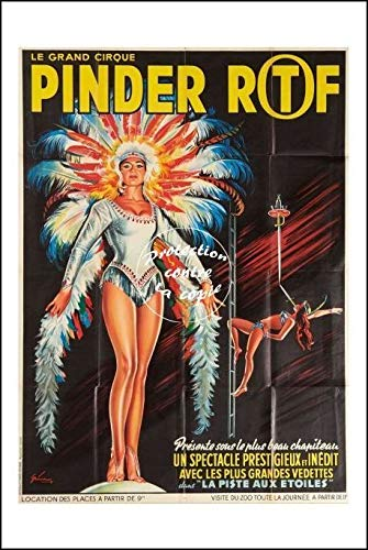 Herbé ™ Poster 40x60cm* d'affiche Vintage/Ancienne Cirque PINDER ORTF Pistes E
