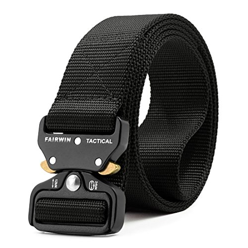 "Fairwin Tactical Belt, Military Style Webbing Riggers Web Belt Heavy-Duty Quick-Release Metal Buckle (Black, M - Waist 36""-42"")"