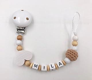 Attache tétine, attache sucette bébé personnalisé perles de bois fille garçon nature coeur - Différents modèles