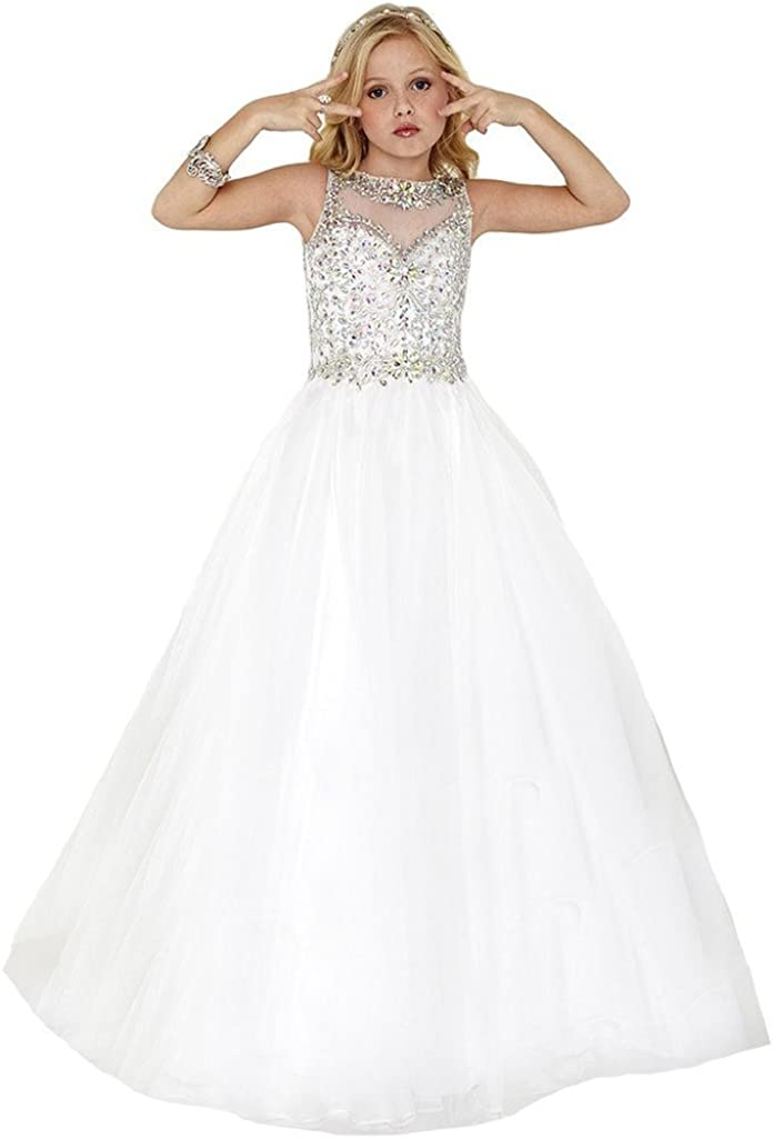 SuMeiyue Girls' White Scoop Beaded Crystal Full Party Gown Pageant Dresses