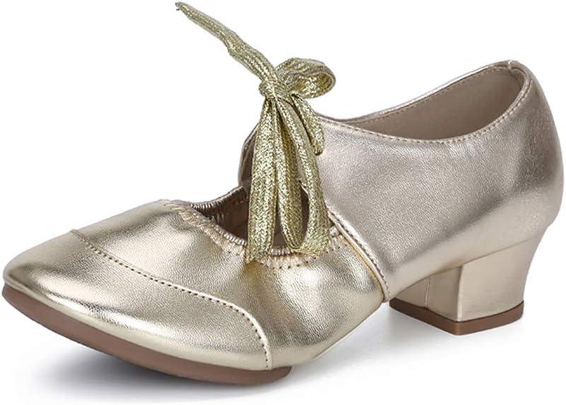 Lefuyan Womens Ballroom Dance Shoes Party Salsa Practice Shoes,Gold,34 EU(3 US)