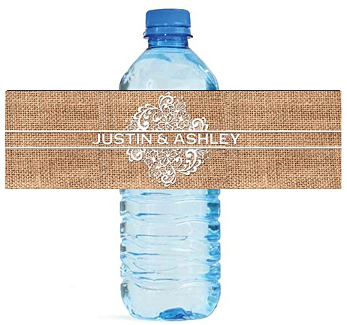 """100 Burlap and Lace Wedding Water Bottle Labels Great for Engagement Bridal Shower Party 8""""x2"""""""
