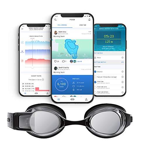 FORMSmartSwimGogglesスマートスイムゴーグルは、プールおよびオープンウォーター用のフィットネストラッカーで、泳いでいる間の計測データがシースルーディスプレイ上で表示されます