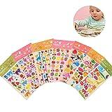 Yuccer Stickers Infantiles, 3D Pegatinas de Recompensa para Niños, DIY Decoration Album Agenda Scrapbooking, Incluyendo Animales, Frutas y Alimentos, 8 Hojas