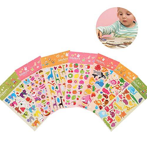 Aufkleber für Kinder, Yuccer 3D Puffy Sticker Niedlich Stickeralbum für das Kinderzimmer Einschließlich Tiere und Obst, 8 Blatt (8 Blatt)