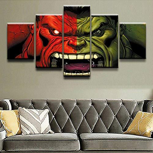 XIAYF The Hulk Avengers Movie 5 Piezas Cuadro En Lienzo Material no Tejido, Hd Moderno DecoracióN Hogar Decorativos Oficina Aniversario Pinturas ArtíSticas PóSter (150x80cm Marco)