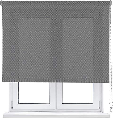 Rollertor Stannis Estor Enrollable Screen Traslucido, Tela, Gris Oscuro, 150 x 175 cm