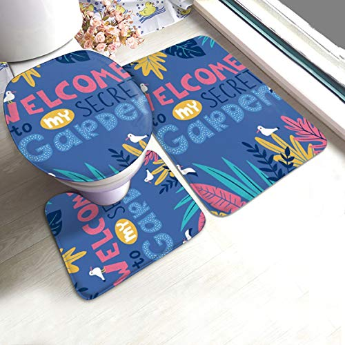 N/R Stijlvolle Tropische Bladeren, Vogels En Handgeschreven Lettering U-Shaped Toilet 3 Stuk Badmat Set Badkamer Tapijten Tapijten Antislip Voor Indoor Contour Tapijt Aangepast