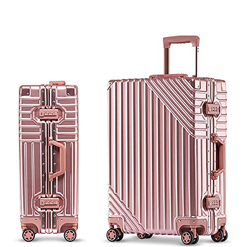 YASB 26/32/34/36 Inch Aluminum Frame Rolling Luggage,Spinner Men Business Suitcase Wheels Women Travel Bag,Pink,26Inch