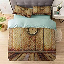 3-Piece Duvet Cover Set, Antique Clock on Medieval Style Wall Wooden Floor Classic Architecture T, Soft Brushed Microfiber Fabric - Shrinkage and Fade Resistant - Easy Care, Beige Brown