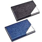 CKANDAY Paquet de 2 porte-cartes de nom d'entreprise de luxe en cuir PU et en...