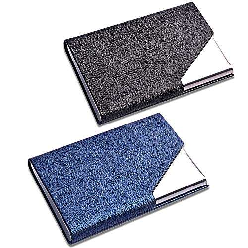CKANDAY Paquete de 2 tarjeteros de piel sintética y acero inoxidable para tarjetas múltiples, bolsillo protector profesional con metal para tarjetas de identificación de crédito, hombres, mujeres