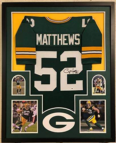 FRAMED GREENBAY PACKERS CLAY MATTHEWS AUTOGRAPHED SIGNED JERSEY PSA COA
