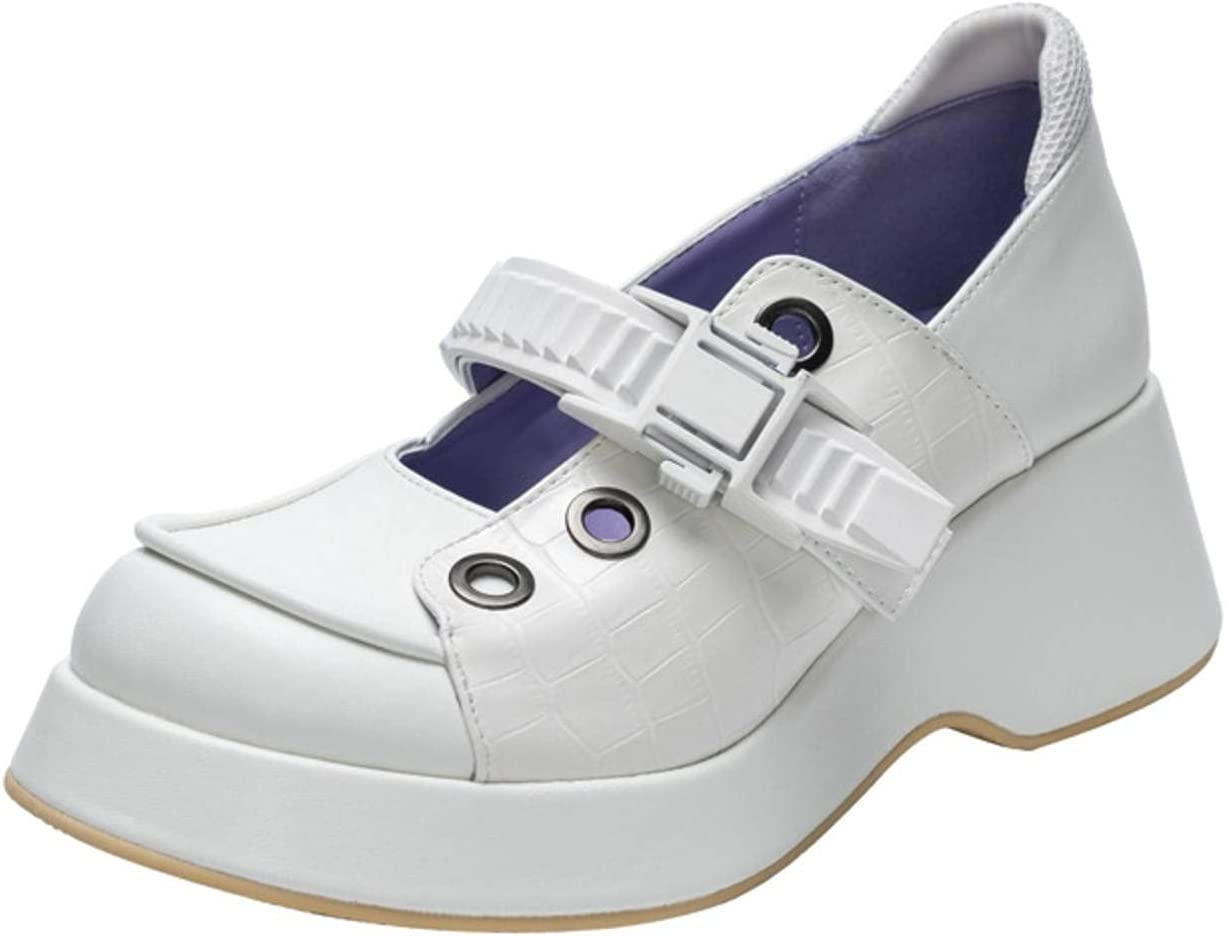 NC Vintage Mary Jane Shoes Thick-Soled Ugly Big Toe Shoes Buckle JK Soft Girl Sweet Single Shoes