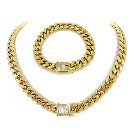 """HarlemBling 12mm 30"""" Cuban Link Chain & 8.5"""" Bracelet Set - 1ct Lab Diamond Clasp - 18k Gold Plated Stainless Steel"""