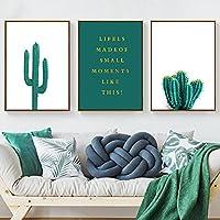 3ピースミニマリストサボテンキャンバス絵画緑の植物ポスターとプリント壁アート壁の写真ダイニングルームキッチン自由奔放に生きる装飾  40x60cmx3フレームなし