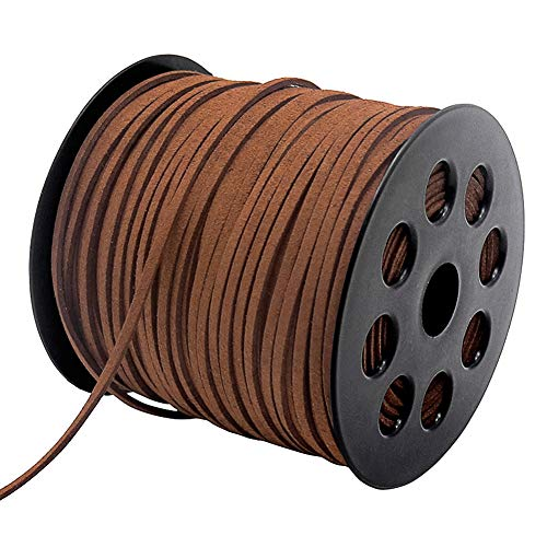 Tenn Well 2.6mm Suede Cord, 100 Yards Flat Faux Leather Cord for Necklaces, Bracelets, Jewelry Making, Beading and DIY Crafts (Brown)
