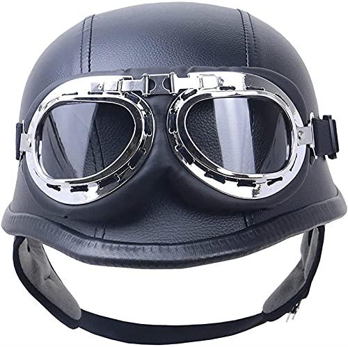 YLFC Casco de Moto Retro,Medio Cascos con Gafas de Protección Casco Moto De Cara Abierta,Dot/ECE Homologado Four Seasons Universal Moto Cascos Half-Helmet (Color : A, Size : 3XL)