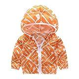 Unisex Kinder UV/Sonnenschutz Hoodie Baby Sonnenschutz Kleidung mit Kapuze Licht Mantel Kinder Quick Dry Ultradünne Jacke für Kleinkinder Jungen Mädchen(90-Orange)