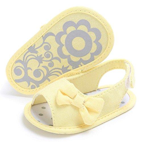 URSING Sommer Neugeboren Mädchen Baby Sandalen Baumwolle Weiche Sohle Bowknot Kleinkind Schuhe Krippe Haken & Loop Prewalker Schuhe (0~6 Month, gelb)
