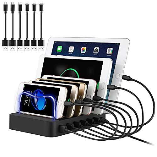 PRITEK Smart IC USB Stazione di Ricarica con Cavi USB per Cellulare Tablet Caricatore Stazione USB 6 porte Multi Dispositivo USB Charger Station Telefono Docking Station Organizer (Nero)