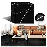 VEELIKE Vinyl Floor Tiles Peel and Stick 12''x12'' Black Marble Flooring Tiles Self Adhesive Waterproof Floor Vinyl Sticker Tiles Decorative for Bedroom Bathroom Kitchen Walls Basement 4 Pack