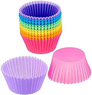 Cupcake Mold for Baking, Klions 12 PCS Reusable Silicone Baking Molds Muffin Moulds No Sticky Rainbow Cups for Cakes Ice Creams Puddings