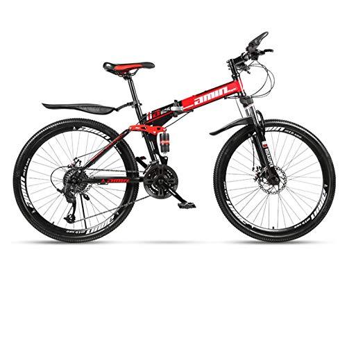 DGAGD Bicicleta de montaña Plegable de 26 Pulgadas para Adultos, una Rueda, Doble absorción de Impactos, Todo Terreno, Velocidad Variable, Rueda de radios-Rojo Negro_21 velocidades
