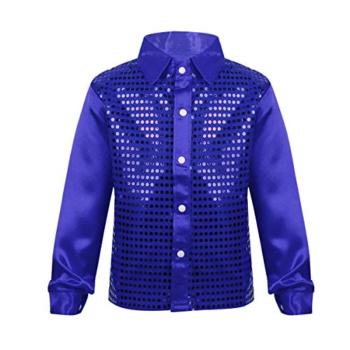 iEFiEL Kids Boys Teens Sequins Long Sleeve Shirt Party for Choir Jazz Dance Stage Performance Wedding Dance Costumes Blue 10-12
