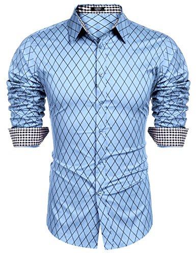 Burlady Herren Hemd Slim Fit Diamant-Gitter Karohemd Kariert Langarmhemd Freizeit Business Party Shirt für Männer