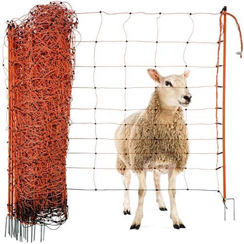 Agrarzone Schafnetz Schafzaun mit Strom orange 50m x 108cm | elektrisches Weidezaun-Netz mit Doppelspitze & Pfähle | Schutzzaun für Schaf Ziege Lämmer | Elektro-Zaun Ziegenzaun Schafzäune