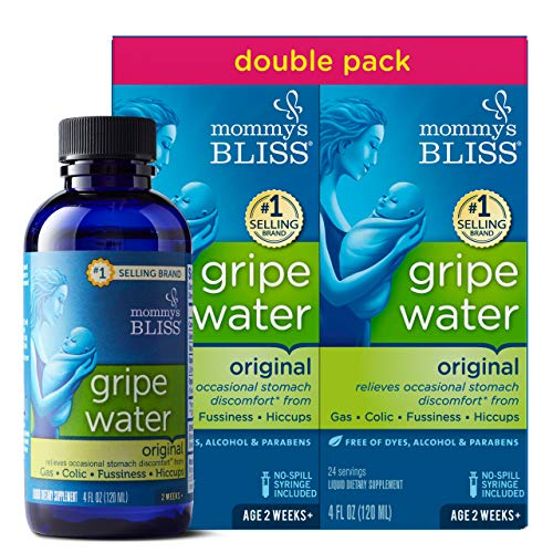 Mommy's Bliss Original Gripe Water, Gas and Colic Relief, Gentle and Safe, Made for Infants, 2 Weeks+, 8 Fl Oz (2 Bottles)