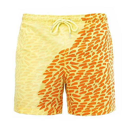 TANGTANGYI Hosen Herren Kurz Cargo Strandhose Sommer Polyester Zweifarbige Nähte Schnürung Hawaii-Druck Reiseurlaub Version Schweißabsorbierende Atmungsaktive Bequeme Coole Gummiband (Orange,42)